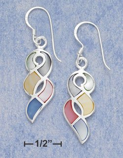 """STERLING SILVER JEWELRY MULTI COLOR MOTHER OF PEARL TWIST FW EARRINGS (APPROX 1.5"""")  ( xx4137 )"""