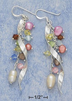 "STERLING SILVER STREAMERS W/ MULTI COLOR CATEYE CRYSTAL & FWP FW EARS (APPROX 2.5"")  ( xx4136 )"