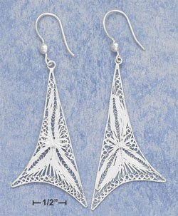 """STERLING SILVER LARGE WHIMSICAL FILIGREE TRIANGLE FRENCH WIRE EARRINGS (APPROX 3"""")  (xx4133)"""