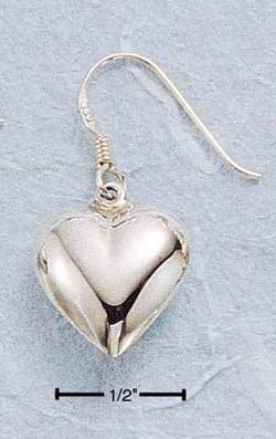 STERLING SILVER JEWELRY HP PUFFED HEART DANGLE EARRINGS (ea11)