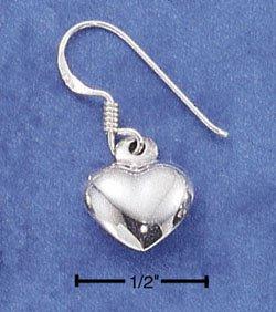STERLING SILVER JEWELRY SMALL HP PUFF HEART DANGLE EARRINGS (ea12)