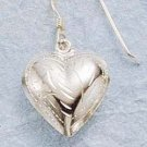 STERLING SILVER JEWELRY ENGRAVED PUFFED HEART DANGLE EARRINGS (ea17)