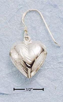 STERLING SILVER JEWELRY ENGRAVED PUFFED HEART DANGLE EARRINGS (ea17)