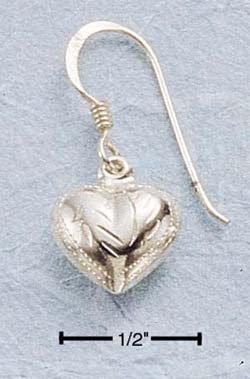 STERLING SILVER JEWELRY SMALL ENGRAVED PUFF HEART DANGLE EARRINGS (ea18)