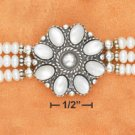 "STERLING SILVER 7""-8.25"" ADJ 3 STRAND PEARLS W/ MOP FLOWER CENTER BRACELET  (br2661)"