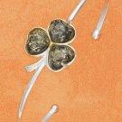 STERLING SILVER JEWELRY GREEN AMBER SHAMROCK CUFF BRACELET (br2641)