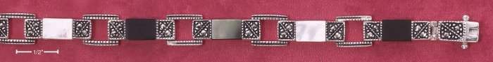 """STERLING SILVER 7"""" MARCASITE LINK BRACELET W/ BLACK MOP WHITE MOP AND GENUINE ONYX (mbr28)"""
