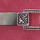 "STERLING SILVER 7"" MARCASITE LINK BRACELET W/ BLACK MOP WHITE MOP AND GENUINE ONYX (mbr28)"