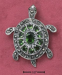 STERLING SILVER MARCASITE MOVABLE HEAD SEA TURTLE PENDANT W/ GREEN CZ SHELL (mpn89)
