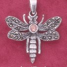 "STERLING SILVER ANTIQUED MARCASITE DRAGONFLY PENDANT W/ PINK CZ ( APPROX 1"") (mpn113)"