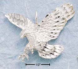 STERLING SILVER JEWELRY SMALL DC EAGLE IN FLIGHT CHARM (ch167)