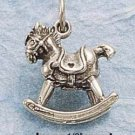 STERLING SILVER ANTIQUED 3-D ROCKING HORSE CHARM (ch866)