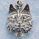 STERLING SILVER JEWELRY WOLF HEAD CHARM (ch0896)