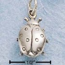 STERLING SILVER JEWELRY ANTIQUED LADYBUG CHARM (ch649)