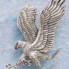 STERLING SILVER JEWELRY LARGE LANDING BALD EAGLE CHARM (ch700)