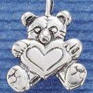 STERLING SILVER JEWELRY TEDDY BEAR W/ HEART CHARM  (ch1312)