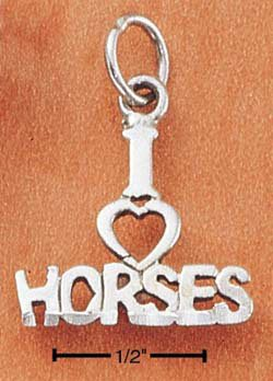 "STERLING SILVER JEWELRY ""I LOVE HORSES"" CHARM (ch1807)"