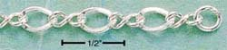 """STERLING SILVER 8"""" TWO SMALL & ONE LARGE OVAL LINK BRACELET (br119a)"""