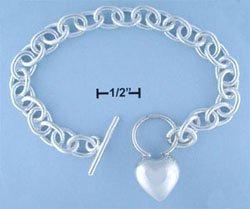 "STERLING SILVER 7.5"" ROLO W/ HP HEART TOGGLE BRACELET (br682)"