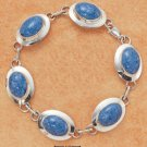 "STERLING SILVER JEWELRY 7.5"" OVAL DENIM LAPIS BRACELET (br1003)"
