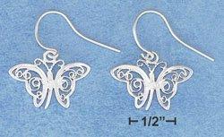 STERLING SILVER JEWELRY FILIGREE BUTTERFLIES ON FRENCH WIRE EARRINGS  ( ea3782 )
