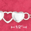 """STERLING SILVER 7"""" HP 9MM OPEN & SOLID ALTERNATING HEART LINKS W/ ARROW TOGGLE  (br2773)"""
