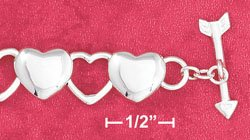 "STERLING SILVER 7"" HP 9MM OPEN & SOLID ALTERNATING HEART LINKS W/ ARROW TOGGLE  (br2773)"