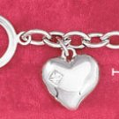 "STERLING SILVER JEWELRY RP 7.5"" CABLE TOGGLE BRACELET W/PUFFED HEART W/3MM PRINCESS CUT CZ (br2811)"