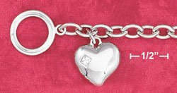 """STERLING SILVER JEWELRY RP 7.5"""" CABLE TOGGLE BRACELET W/PUFFED HEART W/3MM PRINCESS CUT CZ (br2811)"""