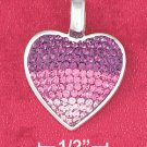 STERLING SILVER JEWELRY HP HEART CHARM FILLED W/ VARIOUS SHADES OF PINK CZ'S (ch3578)