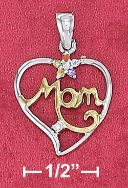 """STERLING SILVER JEWELRY RP TT 17MM """"MOM"""" OPEN HEART PENDANT WITH CZ AND GEMSTONE FLOWER (ch3622)"""
