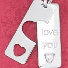 "STERLING SILVER JEWELRY  RP 11X30MM ""I LOVE YOU TAG"" WITH HEART COVER-UP TAG PENDANT (2PCS) (ch3632)"