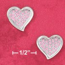STERLING SILVER JEWELRY  RP 14MM PINK PAVE CZ CONTEMPORARY HEART POST EARRINGS (ea3583)