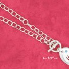 "STERLING SILVER JEWELRY  18"" HP OPEN LINK TOGGLE NECKLACE WITH ""MOM"" HEART & BLUE CRYSTAL (nk989)"