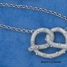 "STERLING SILVER JEWELRY  16"" PRETZEL W/ CLEAR CZ'S PENDANT ON ROLO CHAIN NECKLACE (nk681)"