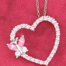"""STERLING SILVER JEWELRY  RP 18"""" CABLE CHAIN NECKLACE W/PINK CZ HEART & BUTTERFLY SLIDE  (nk1024)"""