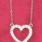"STERLING SILVER JEWELRY  RP 17"" CABLE CHAIN NECKLACE WITH 16MM CLEAR CZ OPEN HEART (nk1025)"
