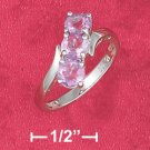 STERLING SILVER JEWELRY RP TRIPLE 5MM ROUND AMETHYST BYPASS RING  (sr2796)