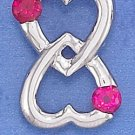 STERLING SILVER JEWELRY RP 15MM WIDE DBL HEART LOVE FOREVER PENDANT (ch3721)