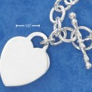 "STERLING SILVER JEWELRY 17"" OPEN CIRCLE LINK NECKLACE W/ ENGRAVABLE HEART (nk586)"