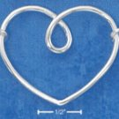 "STERLING SILVER JEWELRY ITALIAN 16"" SQUARE LINK NECKLACE WITH WIRE SQUIGGLE HEART CENTER PC (nk781)"