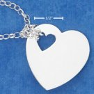 "STERLING SILVER JEWELRY ITALIAN 17"" ROLO NECKLACE WITH HIGH POLISH HEART & HEART CUT-OUT (nk782)"