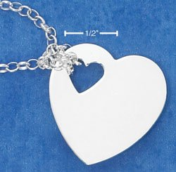 """STERLING SILVER JEWELRY ITALIAN 17"""" ROLO NECKLACE WITH HIGH POLISH HEART & HEART CUT-OUT (nk782)"""