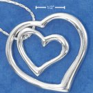 "STERLING SILVER JEWELRY ITALIAN 16"" DOUBLE OPEN HEART WITHIN HEART NECKLACE  (nk786)"
