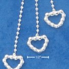 "STERLING SILVER JEWELRY ITALIAN 16"" BEAD CHAIN NECKLACE WITH BEADED HEARTS SLIDABLE TASSLE (nk811)"