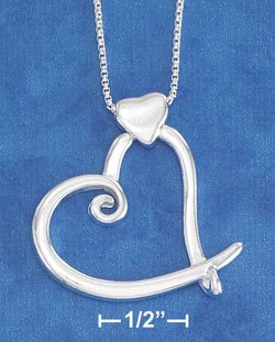 """STERLING SILVER JEWELRY 18"""" ITALIAN BOX NECKLACE W/ WHIMSICAL OPEN HEART ON SM SOLID HEART (nk822)"""