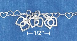 """STERLING SILVER JEWELRY 16"""" SS HEART LINK NECKLACE W/ CLUSTERS OF OPEN HEART LINKS (nk1014)"""