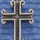 STERLING SILVER JEWELRY ANTIQUED CHANNEL CROSS CHARM  (ch1020)
