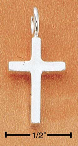 STERLING SILVER JEWELRY SMALL SIMPLE SQUARED CROSS CHARM (ch1752)