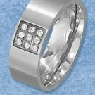 STAINLESS STEEL BAND W/ITH BRUSHED FINISH AND INSET SQUARE WITH 9 CZ'S (sr3103)